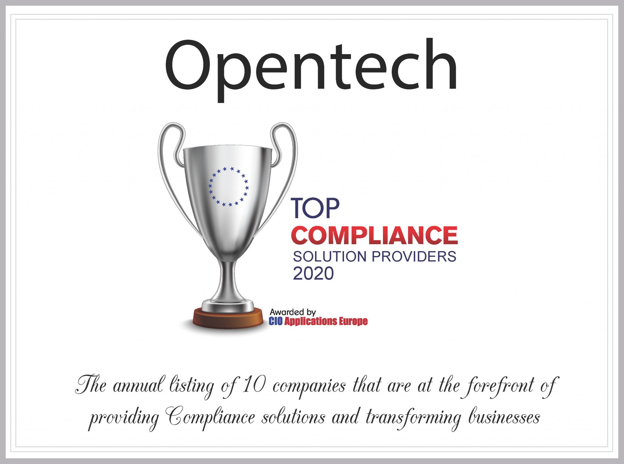 Opentech Top 10 Compliance Solution Providers 2020
